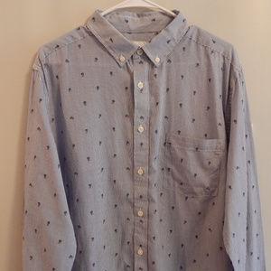 Men's Blue Striped/Rosebud Button Down Shirt